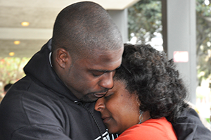 Brian Banks hugs his mother