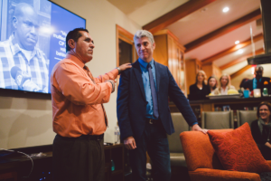 Luis Vargas speaking with Justin Brooks at California Innocence Project event