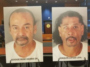 Googie Harris Sr. and Joaquin Leal are pictured before a press conference in Riverside.